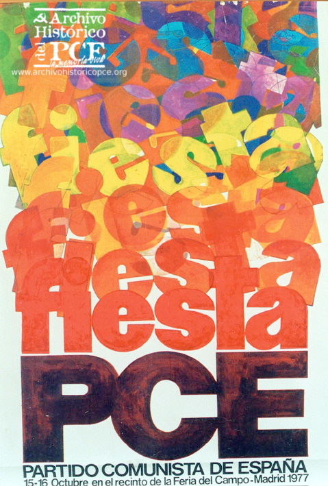 Cartel del la primera fiesta del PCE celebrada en la Casa de Campo de Madrid